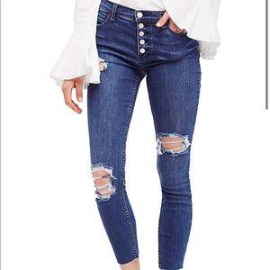 Free People Raw Edge Skinny Fit Jeans